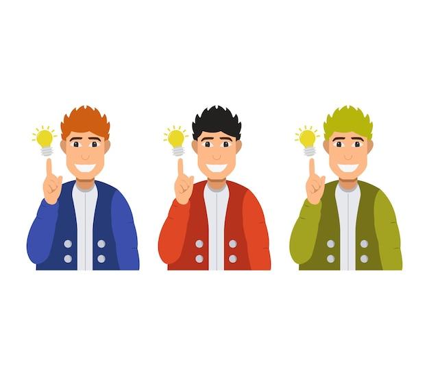 Jongen met gloeilamp en idee