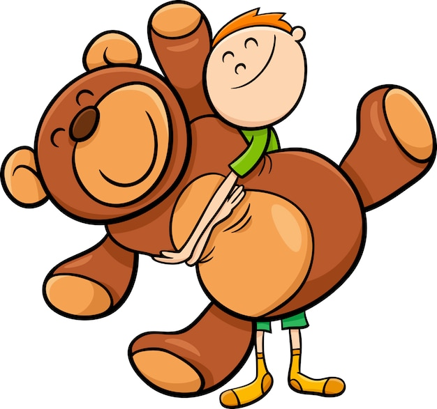 Jongen met grote teddy cartoon