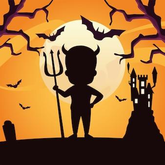 Jongen met halloween-het silhouetontwerp van het duivelskostuum, vakantie en eng thema