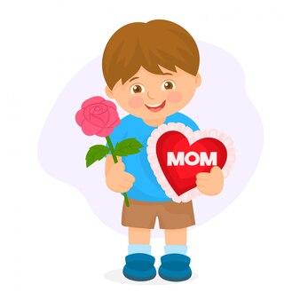 Jongen met hart voor moederdag.