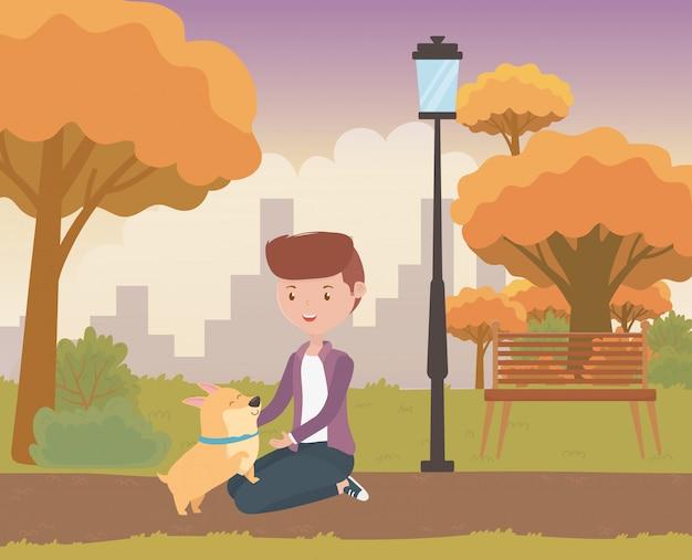 Jongen met hond cartoon ontwerp