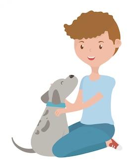 Jongen met hond van cartoon