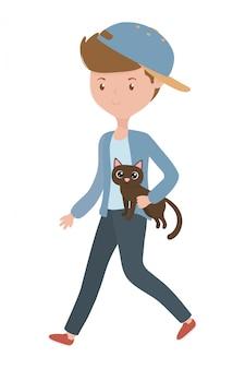 Jongen met kat cartoon