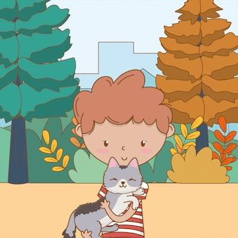 Jongen met kattenbeeldverhaal