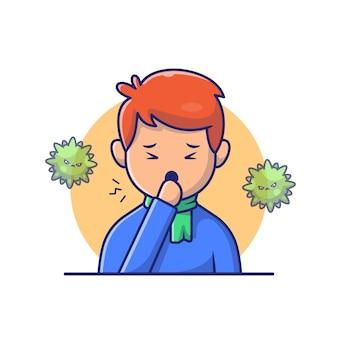 Jongen met koorts en griep pictogram illustratie. corona mascotte stripfiguren. persoon icon concept white geïsoleerd