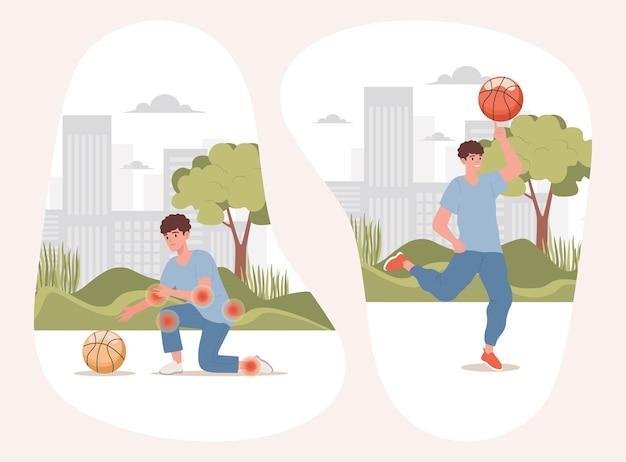 Jongen met lichaamspijnen die gelukkige actieve bal proberen te nemen