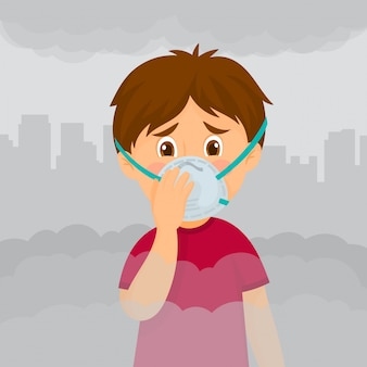Jongen met masker tegen smog