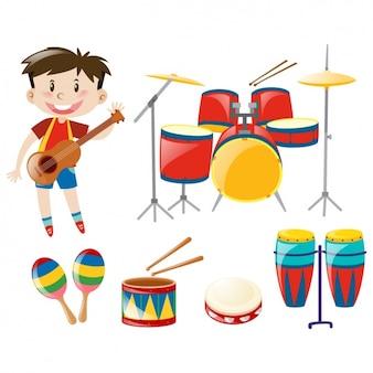 Jongen met muziekinstrumenten