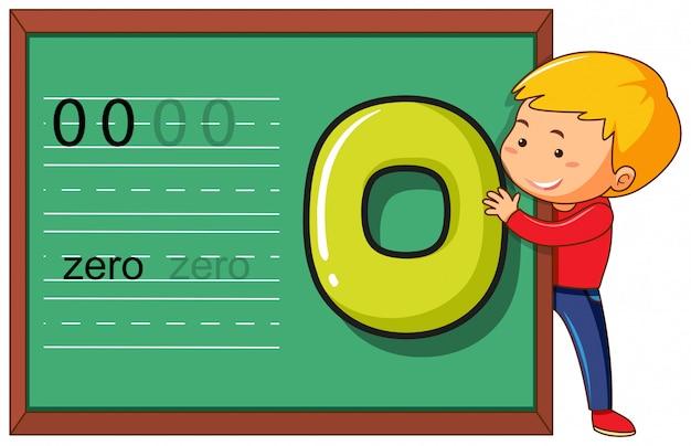 Jongen met nummer nul op het schoolbordsjabloon