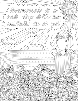 Jongen met pyjama tekening staande achter bloemen onder hitte van de zon. positieve vibe-boodschap die aangeeft dat morgen een nieuwe dag is zonder fouten erin.