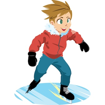 Jongen met rode jas, schaatsen op het ijs.