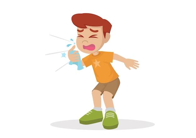 Jongen niest.