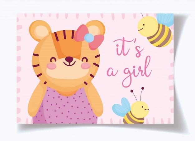 Jongen of meisje, geslacht onthullen het is een meisje schattige tijger en bijen kaart