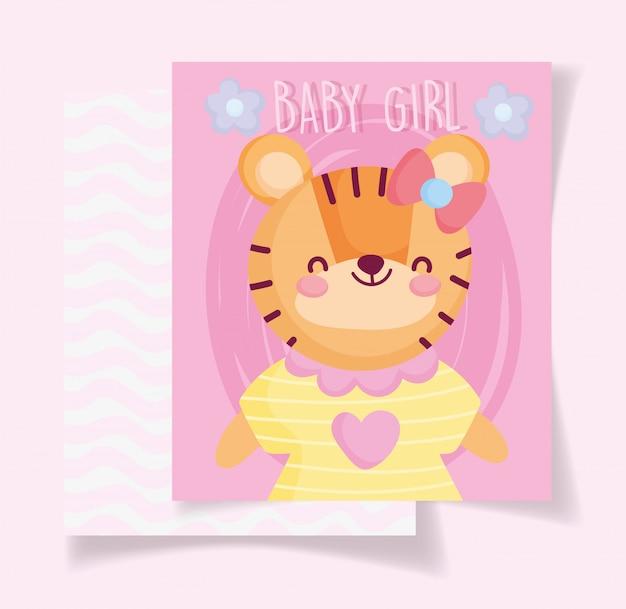 Jongen of meisje, geslacht onthullen roze wenskaart schattige tijger met jurk