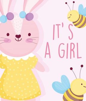 Jongen of meisje, geslacht onthullen schattig konijn met gestippelde jurk bijen kaart