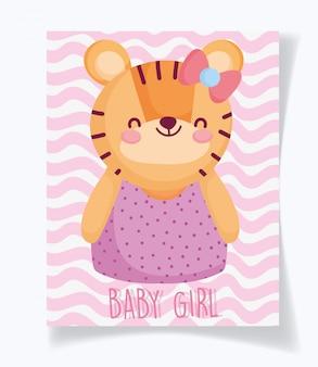 Jongen of meisje, geslacht onthult dat het een cyte-tijgerkaart voor een meisje is