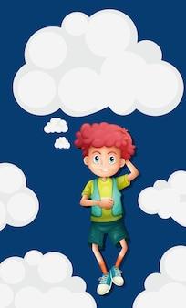 Jongen op pluizige wolkenachtergrond