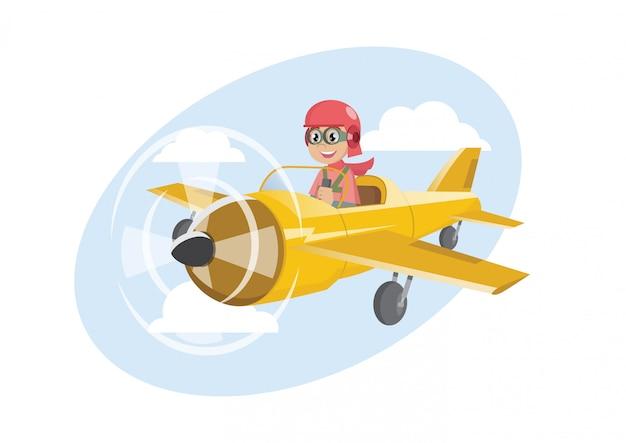 Jongen op vliegtuig het vliegen.