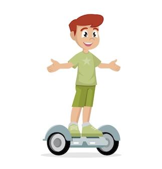 Jongen op zelf in evenwicht brengende autoped.