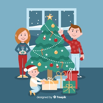 Jongen openen presenteert kerstmis achtergrond