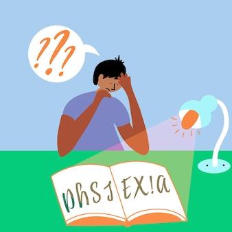 Jongen probeert boek dyslexie in de jongen te lezen