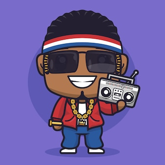 Jongen rapper cartoon karakter illustratie