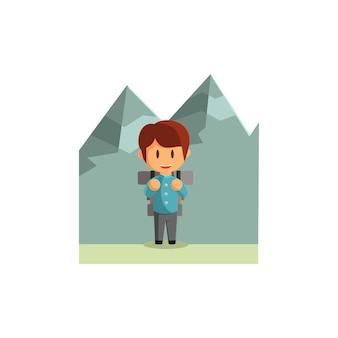 Jongen reist in de bergen. karakter vectorillustratie op het thema wereldtoerisme