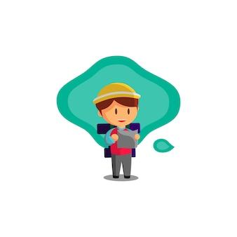 Jongen reist terwijl hij naar de kaart kijkt. karakter vectorillustratie op het thema wereldtoerisme