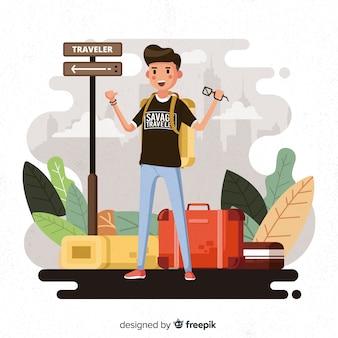 Jongen reiziger