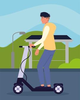 Jongen rijden elektrische kick scooter cartoon