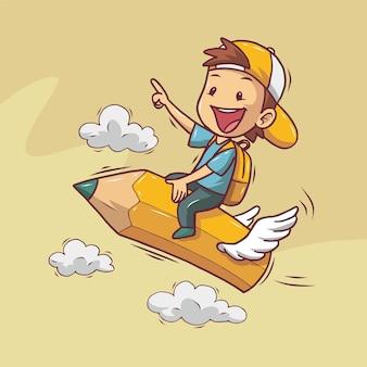 Jongen rijdt gelukkig op een vliegend potlood