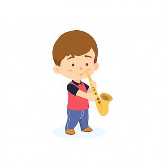 Jongen saxofoon spelen