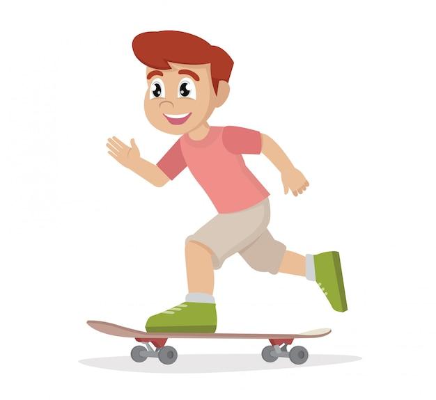 Jongen skateboard spelen.
