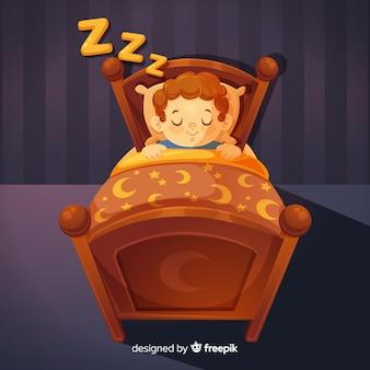 Jongen slapend in bed