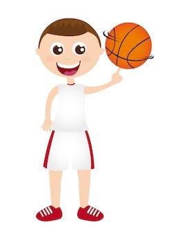 Jongen speel basketbal geïsoleerd over witte achtergrond vector