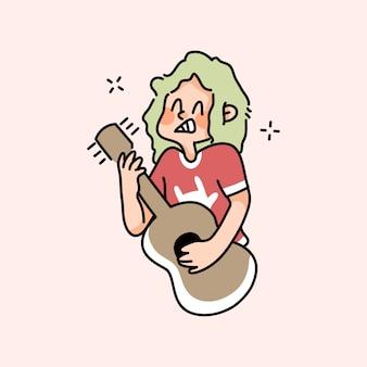 Jongen speelt gitaarmuziek schattige cartoon muzikant tekenen