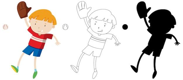 Jongen speelt honkbal met zijn omtrek en silhouet