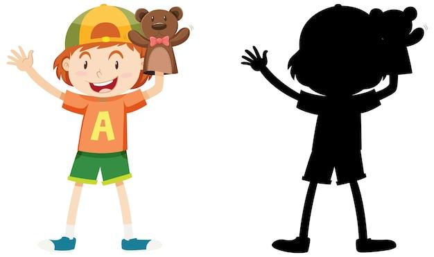 Jongen speelt met pop hand in kleur en silhouet