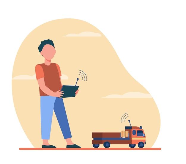 Jongen speelt met radiografisch bestuurd speelgoed. vrachtwagen, auto, afstandsbediening vlakke afbeelding.