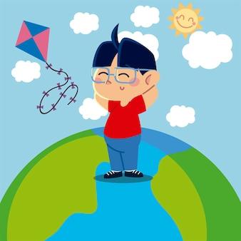 Jongen speelt met vlieger op planeetbeeldverhaal, kinderenillustratie