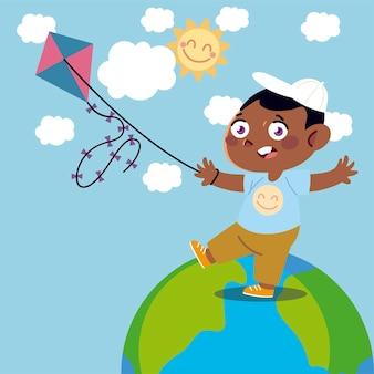 Jongen speelt met vlieger op wereldbeeldverhaal, kinderenillustratie