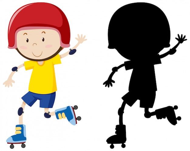 Jongen speelt rolschaats in kleur en silhouet