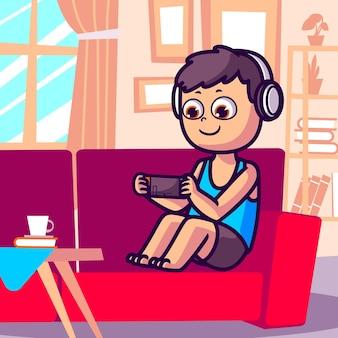 Jongen spelen van videogames cartoon