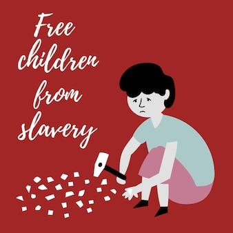 Jongen splijt stenen kleine stukjes hamer slavenhandel kinderen kindermishandeling