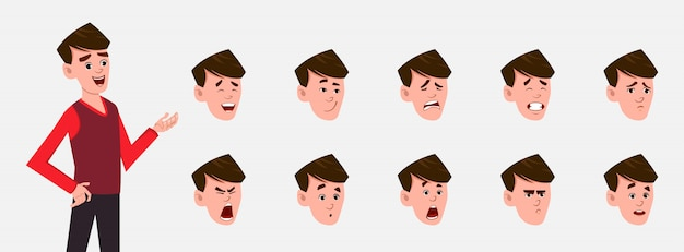 Jongen stripfiguur met verschillende gezichtsemoties en lip sync. teken voor aangepaste animatie.