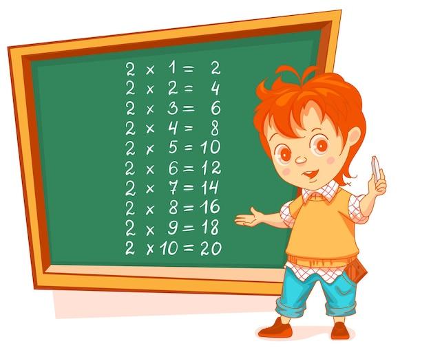Jongen student schrijven tafel van vermenigvuldiging 2 op schoolbord wiskunde les onderwijs vector cartoon