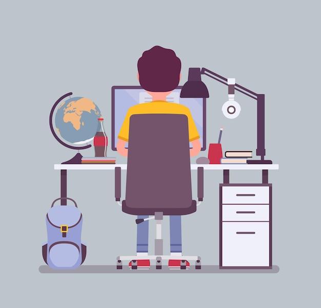Jongen student zit aan bureau