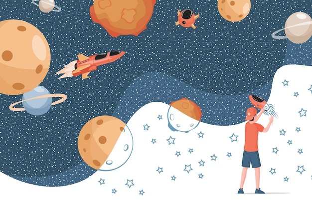 Jongen tekening kosmos, planeten, ruimteschepen en sterren illustratie