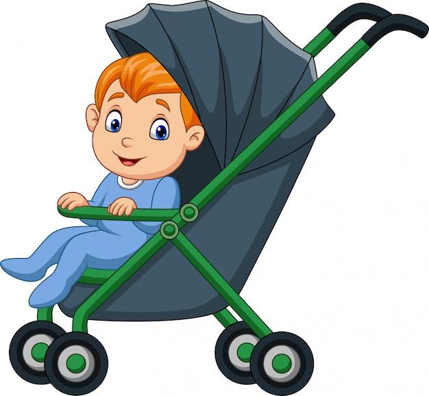 Jongen van de beeldverhaal de gelukkige baby in een wandelwagen