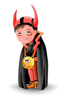 Jongen verkleed als graaf dracula of demon of gehoornde duivel. een jongen in een zwarte mantel en hoorns. de jongen kleedde zich als demon voor halloween.
